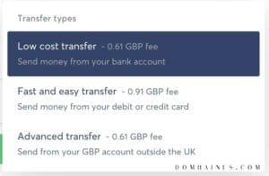 Transferwise Transfer Types