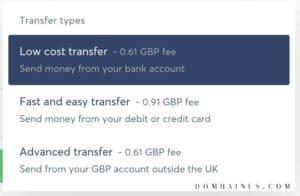 Transferwise Transfer Types