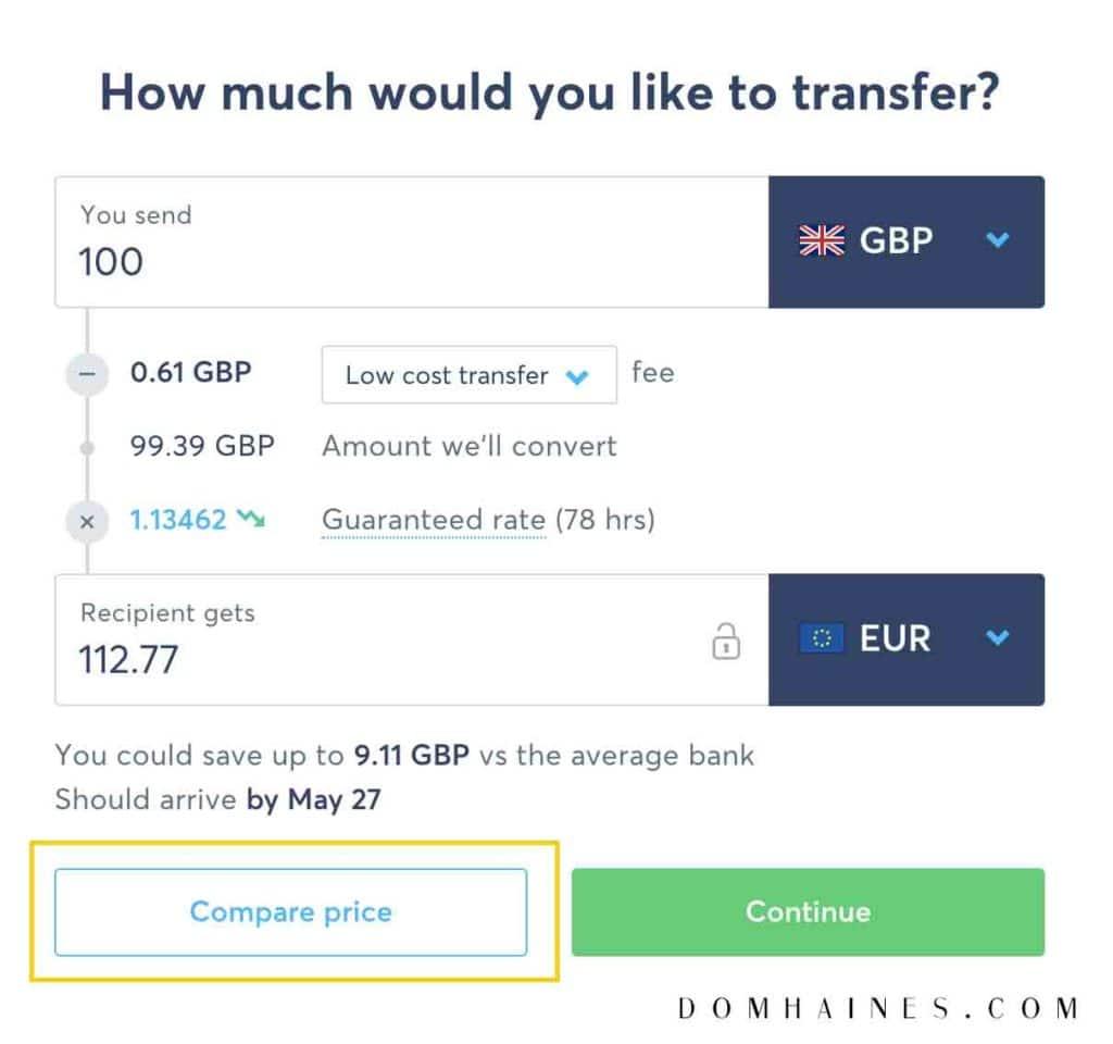 Transferwise compare price