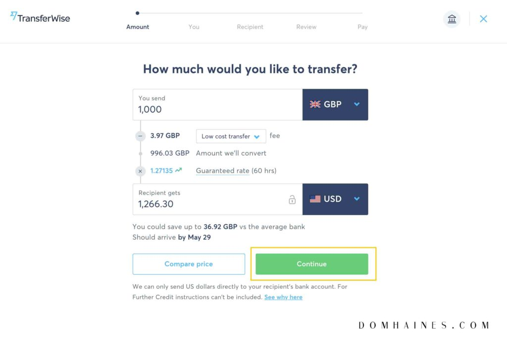 Transferwise send money box
