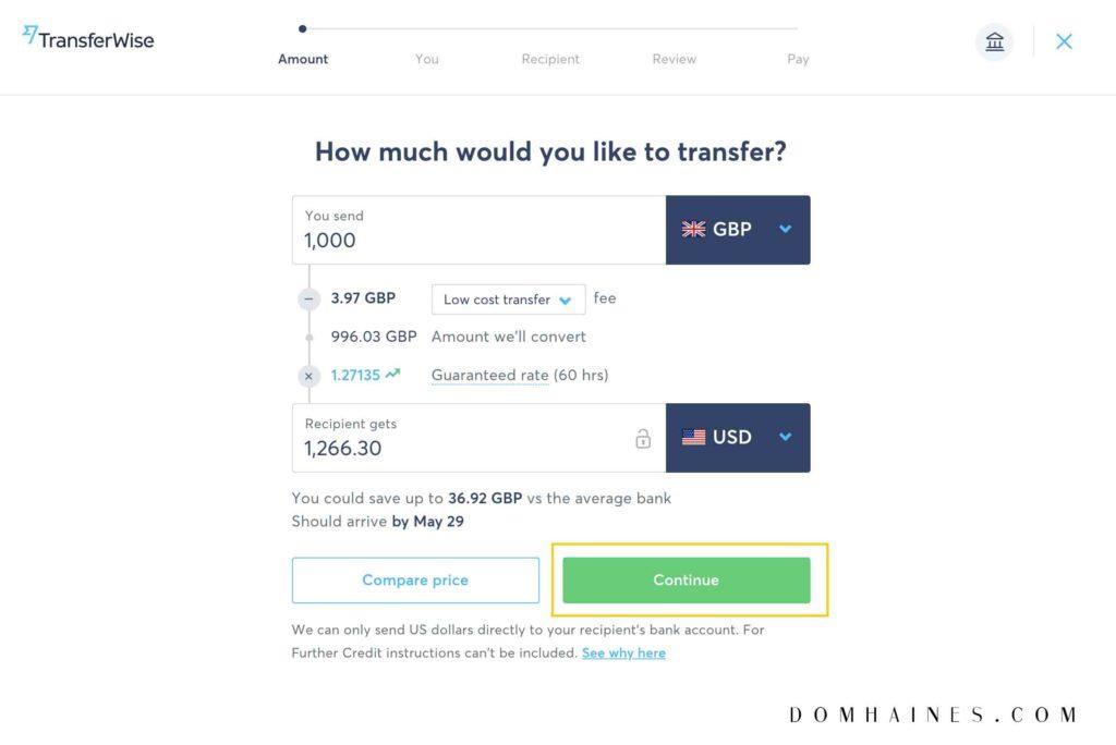 Transferwise send money box