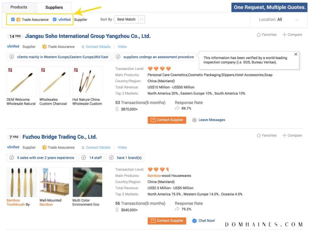 alibaba supplier filter