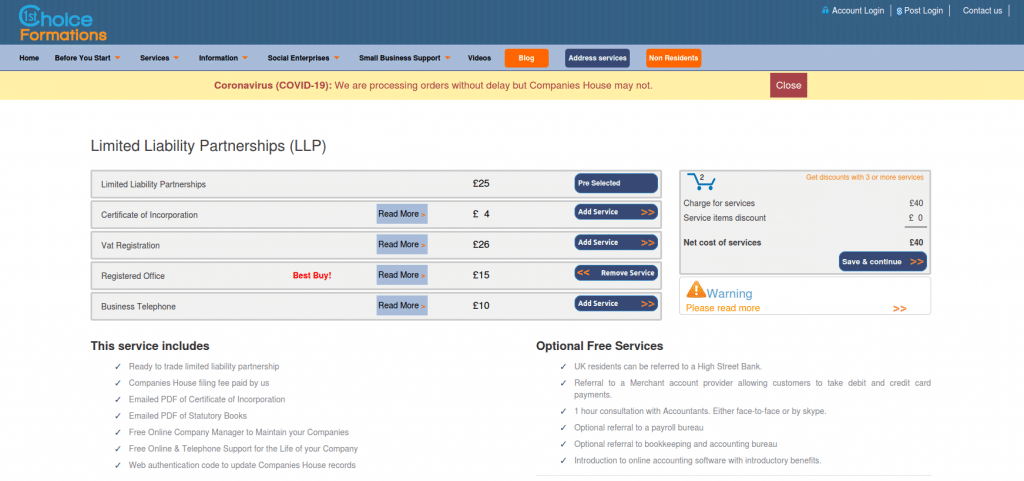 UK LLP formation with 1st Choice - price list