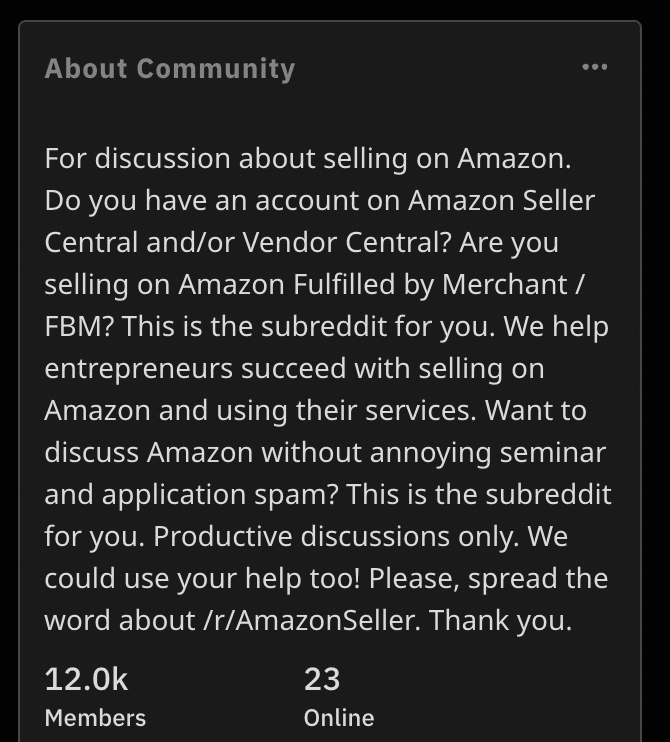 About smaller Amazon FBA Reddit group