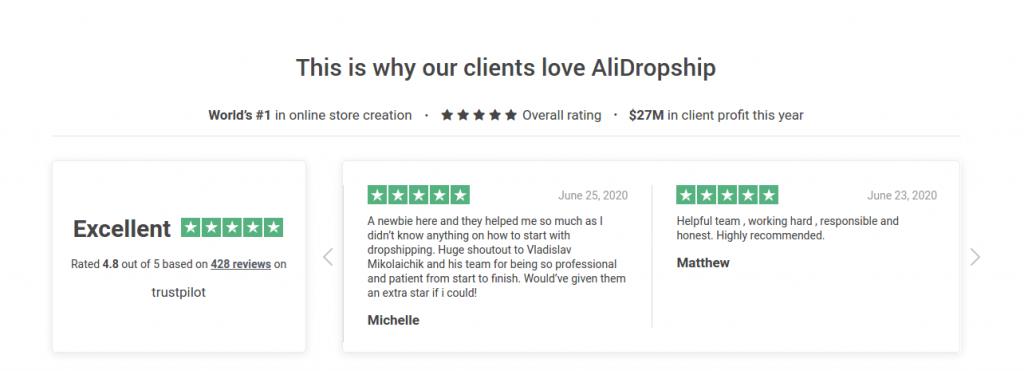 Alidropship Trustpilot review