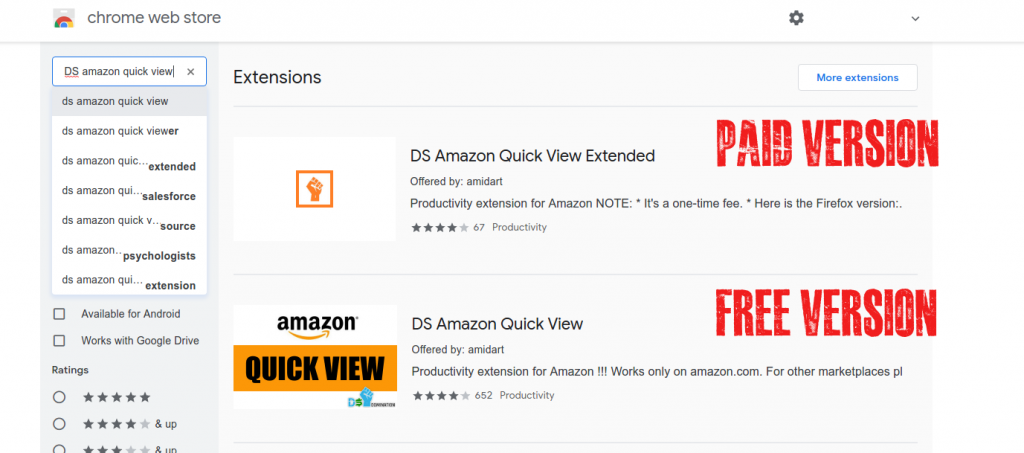 DS Amazon Quick View Chrome Extension Free and Paid version