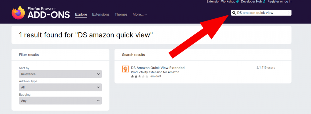 DS Amazon Quick View FireFox Plugin Install