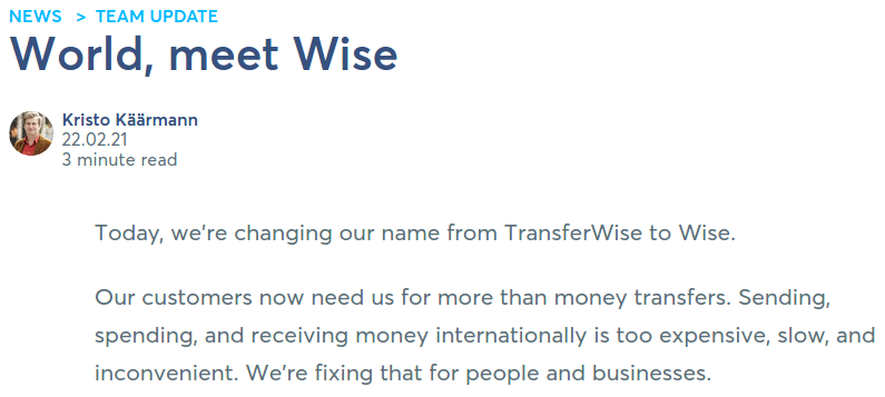 Transferwise change name to Wise